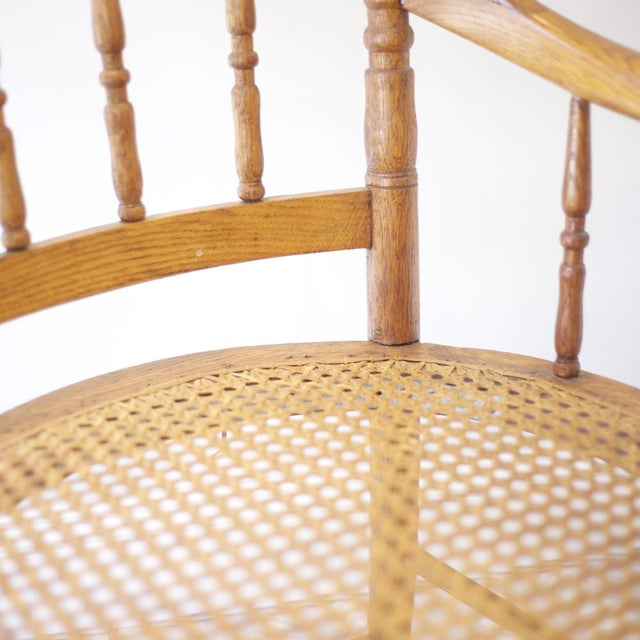 Cane Arm Chairs - a Pair For Sale - Image 4 of 4