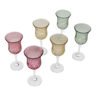 1900s Traditional Multi Colored Wine Glasses - Set of 6
