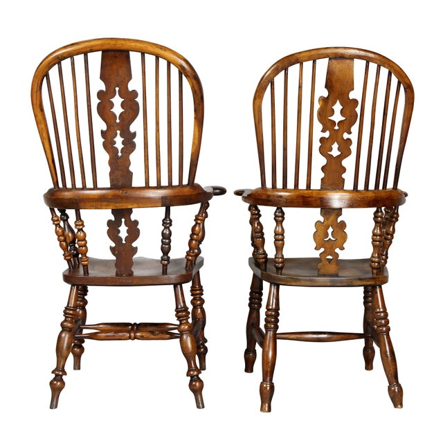 Set of Four Assembled Regency Yewwood Windsor Armchairs For Sale In Boston - Image 6 of 13
