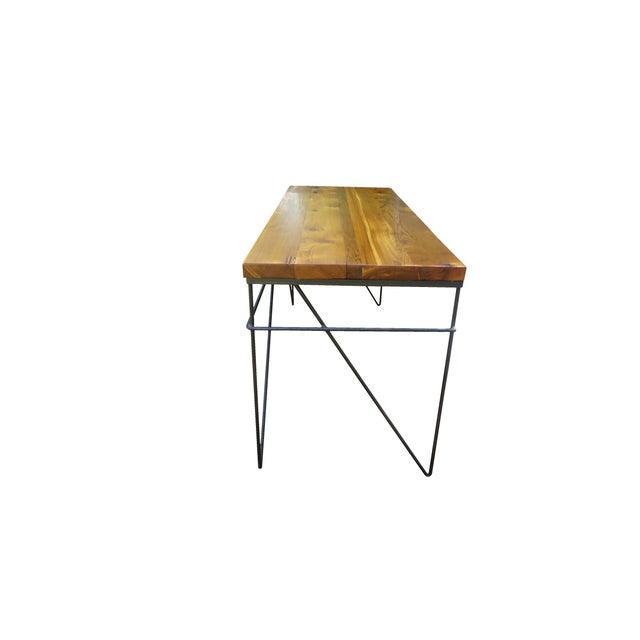 Modern Industrial Steel & Cedar Desk - Image 4 of 8