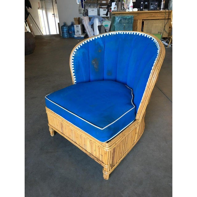Modern Rare Art Deco Shell Back Stick Rattan Lounge Chairs For Sale - Image 3 of 10