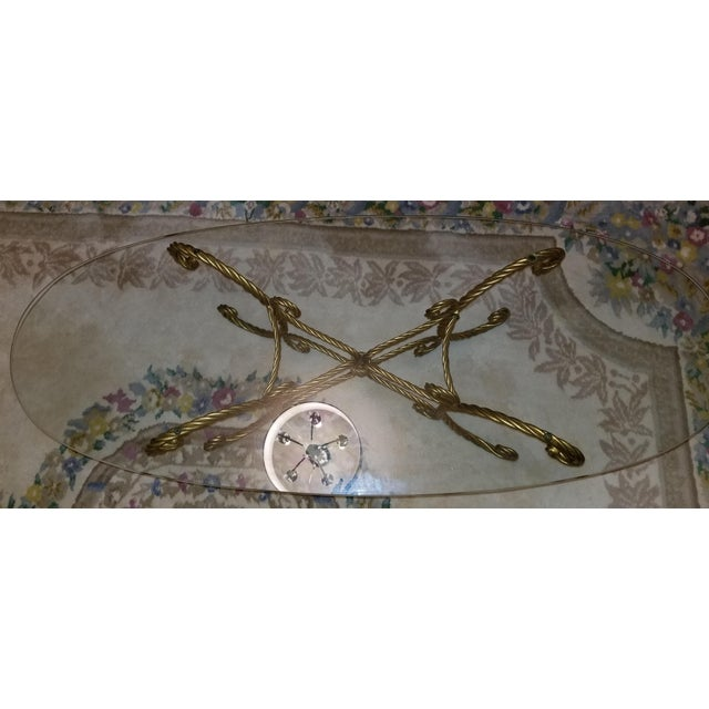 Italian Vintage Italian Gold Rope and Tassel Coffee Table For Sale - Image 3 of 6