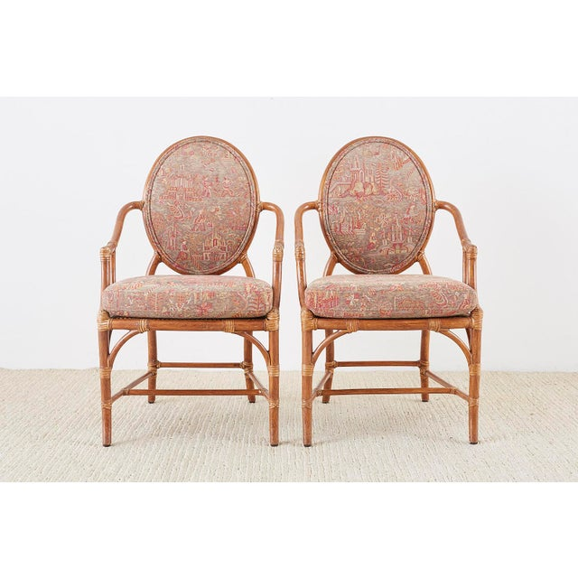Asian McGuire Rattan Chinoiserie Dining Armchairs - Set of 8 For Sale - Image 3 of 13