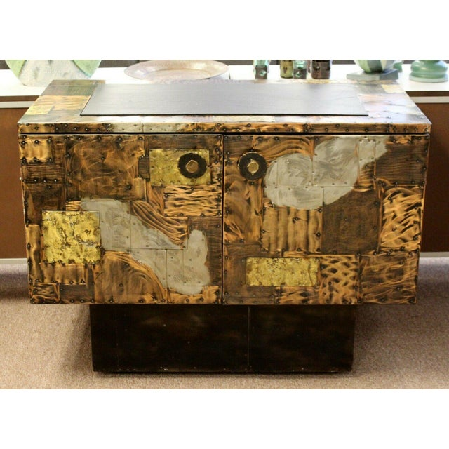 Mid-Century Modern Mid Century Modern Paul Evans Directional Slate Top Copper Patchwork Cabinet 1960s For Sale - Image 3 of 12