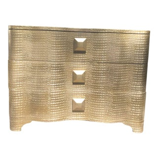 Contemporary Gold Paper Wrapped 3 Drawer Chest For Sale