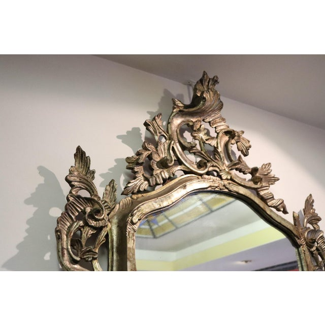 Silver 20th Century Italian Louis XV Style Silvered Wood Antique Wall Mirror For Sale - Image 8 of 11