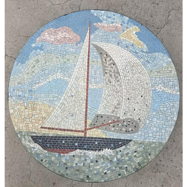 Exceptional Mosaic Tile Coffee Table With Sail Boat For Sale - Image 13 of 13