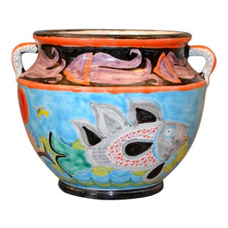 Italian Giovanni Desimone Hand Painted Art Pottery Bowl W/ Octopus Handles For Sale