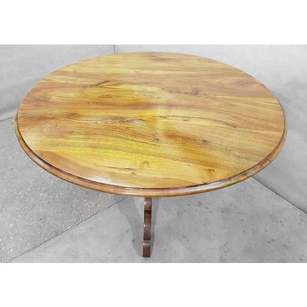 Antique French Walnut Round Tilt Top Occasional Side Breakfast Table For Sale - Image 4 of 13