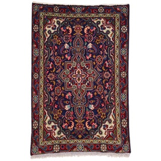 Vintage Persian Hamadan Small Accent Rug - 1′11″ × 2′10″ For Sale