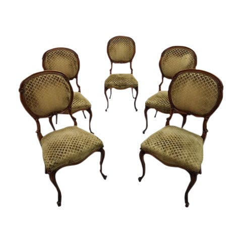 Set of 5 Vintage French Louis XV Style Carved Oak Balloon Back Dining Side Chairs For Sale