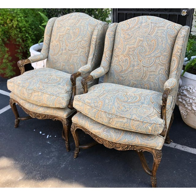 Antique Shallow Wingback Chairs W Ralph Lauren Paisley