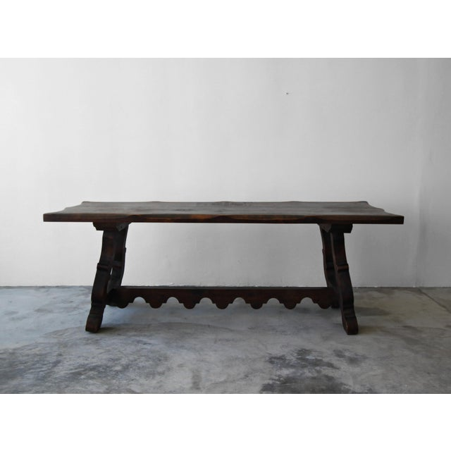 Antique Spanish Industrial Farm Style Trestle Dining Table For Sale - Image 4 of 7