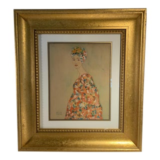 Late 19th Century Figurative Watercolor Painting Attributed to Gustav Klimt, Framed For Sale