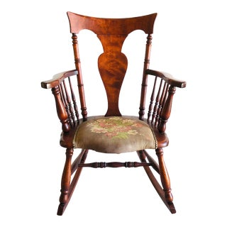 Antique Rosewood Tapestry Rocking Chair Victorian Vintage For Sale