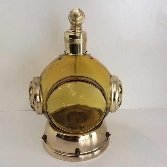 Vintage Amber Glass and Brass Music Box Diving Helmet Decanter For Sale - Image 12 of 12
