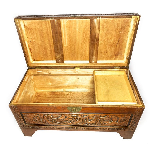 Large antique authentic Chinese hand carved camphor chest / trunk. In the 18th and 19th century camphor boxes and chests...