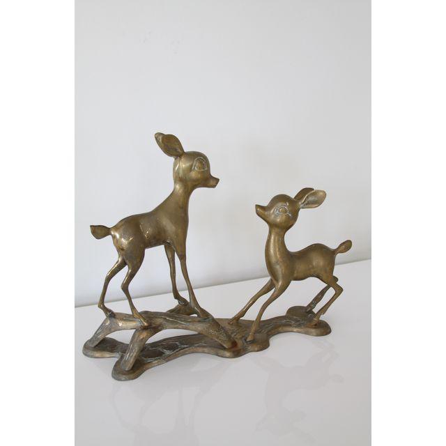 Cottage Vintage Brass Fawns Figurine For Sale - Image 3 of 5