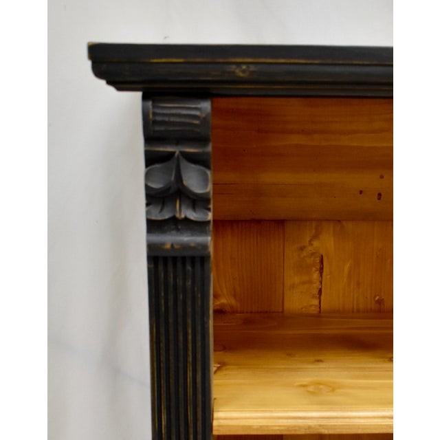 Long Country Pine Bookcase With Four Drawers For Sale - Image 9 of 13