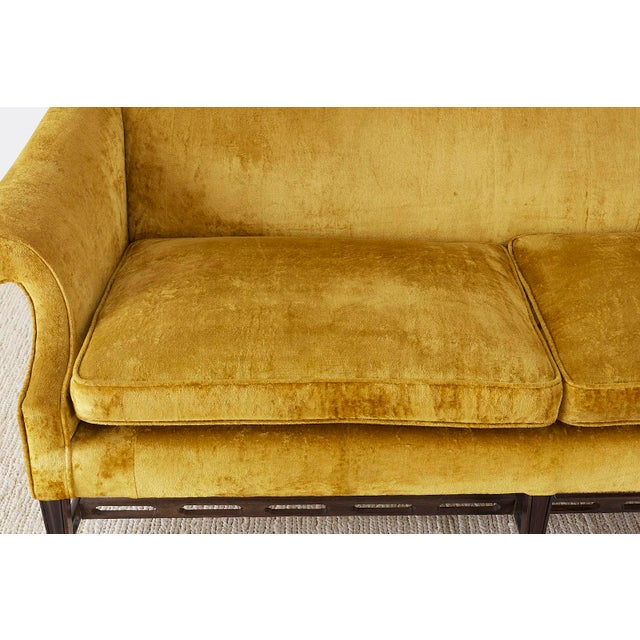 Early 20th Century Chinese Chippendale Style Citron Velvet Camel Back Sofa For Sale - Image 5 of 13
