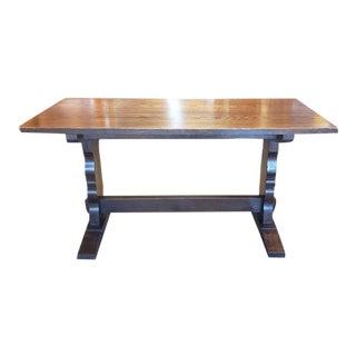 Vintage English Oak Trestle Base Refectory Table C.1920 For Sale