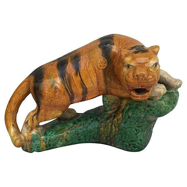 Majolica Glaze Terracotta Tigers - A Pair For Sale In Los Angeles - Image 6 of 6