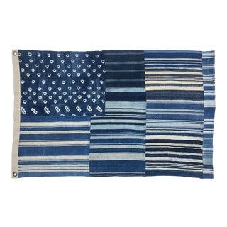 Vintage Indigo Mudcloth Flag, 100% Cotton, Shibori Style, Denim, Blue For Sale