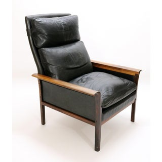 Danish Mid-Century Knut Sæter for Vatne Møbler Leather and Rosewood Lounge Chair and Ottoman Preview