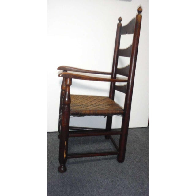 Rare 18th c. Delaware River Valley Ladder Back Side Chair - Image 4 of 8
