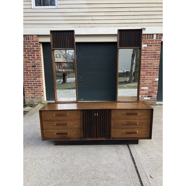 1960s Vintage Mid Century Lane Brutalist Dresser With Mirror For Sale - Image 13 of 13
