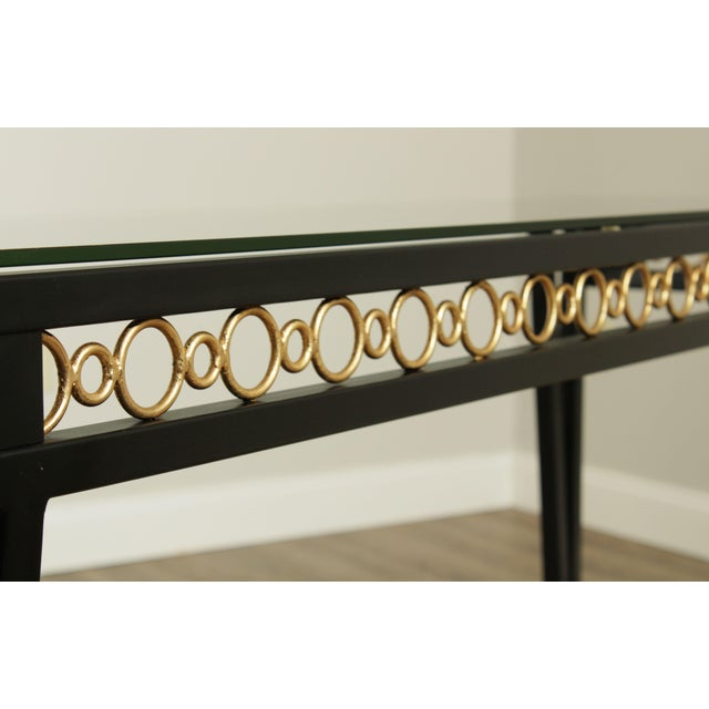 Hollywood Regency Style Black & Gold Glass Top Console Table For Sale - Image 9 of 13