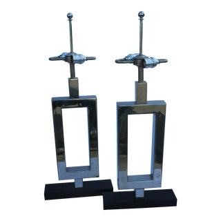 Art Deco, Hi-Polished Nickel Finish, Double Socket Lamps - a Pair Marble Base For Sale