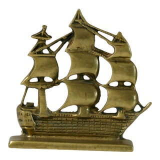 Brass Pirate Ship Bookend For Sale