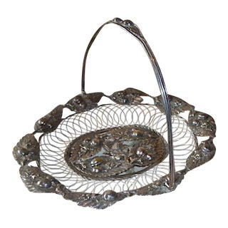 Antique Aesthetic Movement Silverplate Bride's Basket For Sale