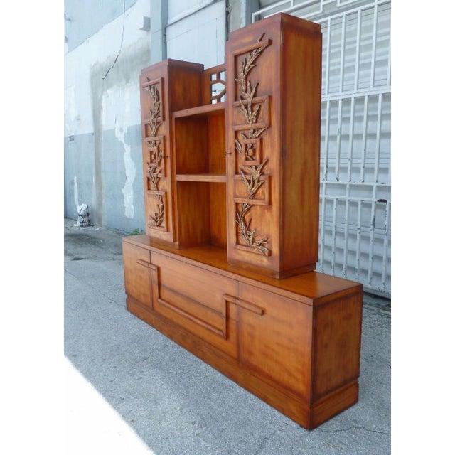 1950s 50's Hollywood Regency James Mont Coromandel Red Cabinet For Sale - Image 5 of 11