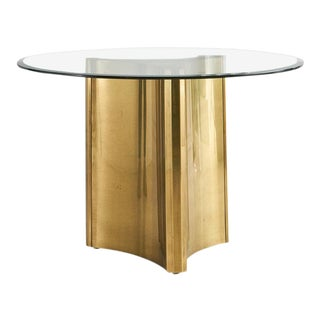 Mastercraft Trilobi Brass Table With Round Glass Top For Sale