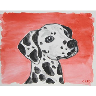 Black and White Dalmatian Dog Painting by Cleo For Sale