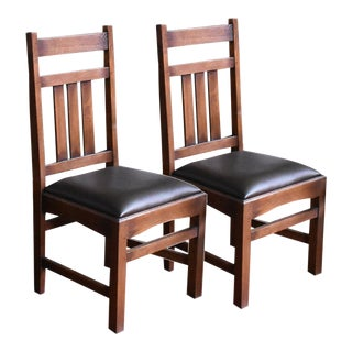 Crafters and Weavers Mission Oak & Leather Slat Back Dining Chairs- A Pair For Sale