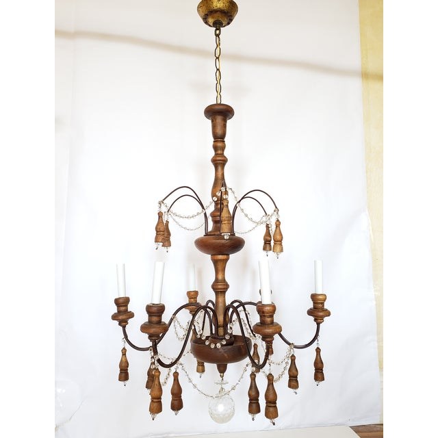Antique French Wood & Crystal Chandelier For Sale - Image 13 of 13