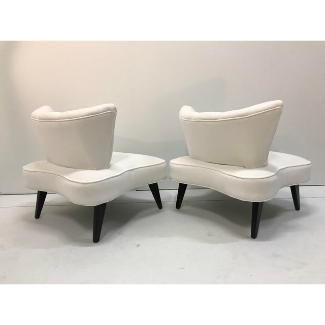 20th Century Pair Sculptural Art Deco Slipper Arm Less Chairs Attributed to Grosfeld House For Sale - Image 6 of 12