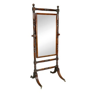 Regency Mahogany Cheval Mirror For Sale