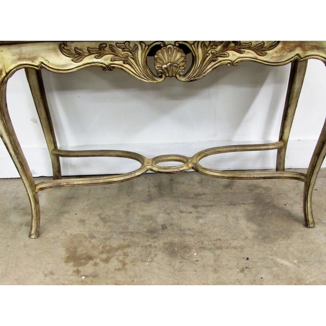 French Louis XV Style Carved Wood Console Table For Sale - Image 3 of 7