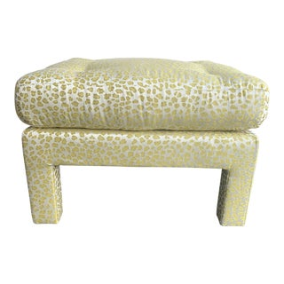 1970s Vintage Square Parsons Ottoman in Citron Animal Print For Sale