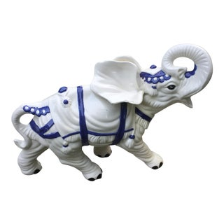 Vintage Large Ceramic Lucky Elephant Figurine For Sale