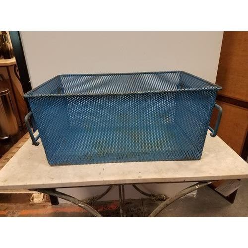 Mid-Century Modern 1960s French Industrial Blue Metal Basket For Sale - Image 3 of 8