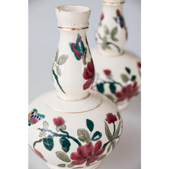 White Antique Italian Floral & Butterflies Double Gourd Vases - a Pair For Sale - Image 8 of 9