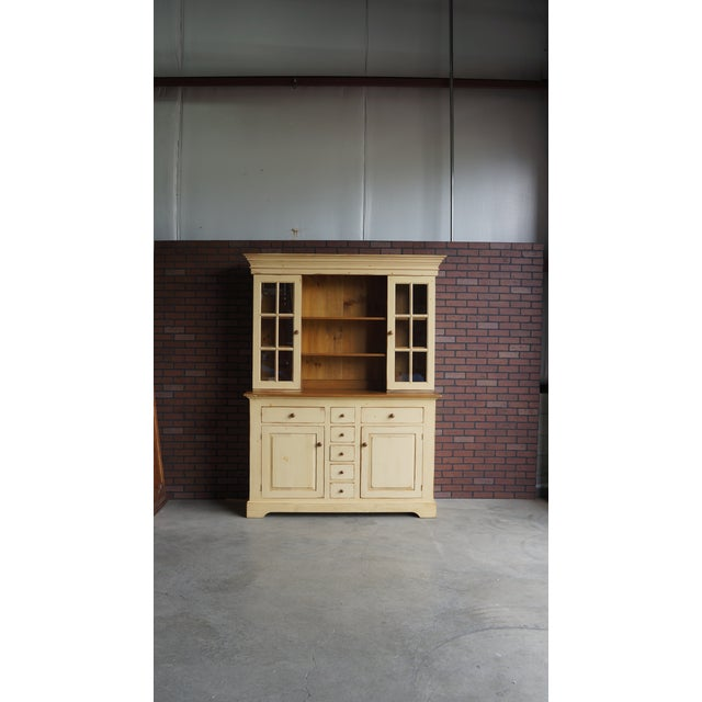 This hand crafted pine hutch is truly special. It features quality solid pine construction, dovetail drawers, stained,...