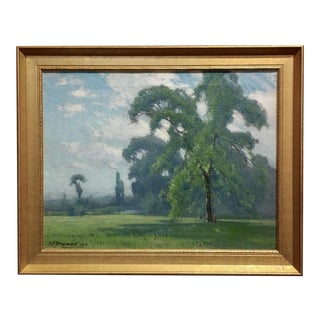 Spring Landscape Oil Painting by Frank Peyraud -C.1919 For Sale