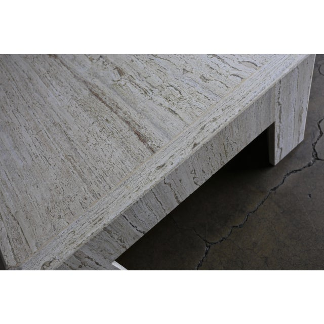 White Modernist Travertine Coffee Table Circa 1980 For Sale - Image 8 of 10