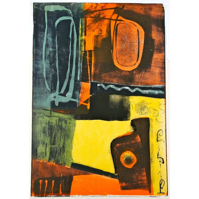 Jerry Opper Layered Mid Century Lithograph - Image 1 of 3